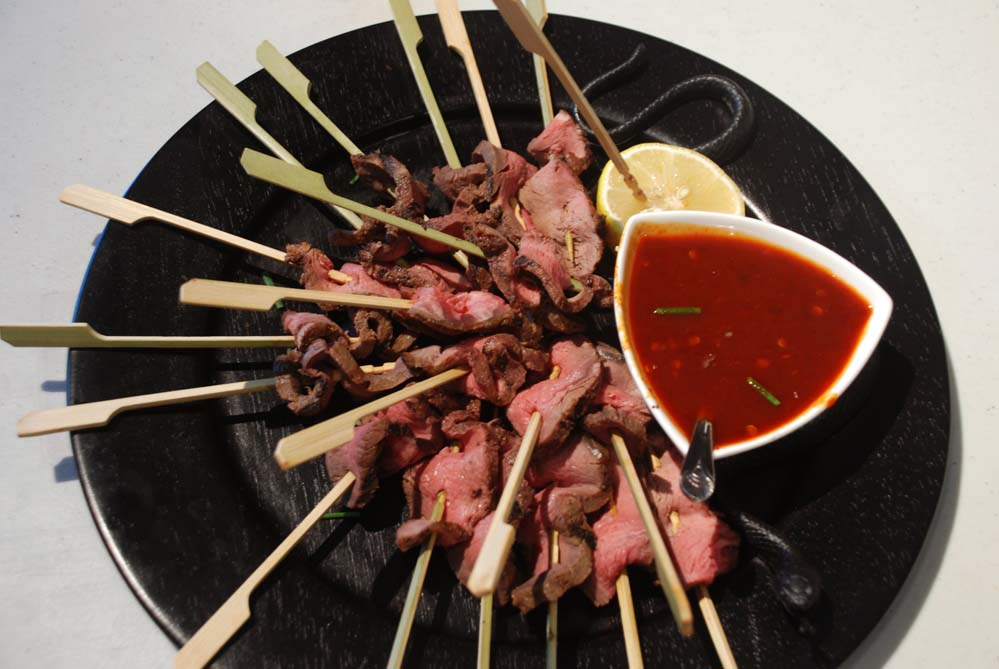 Beef Satay With Ginger Dipping Sauce Recipe — Dishmaps
