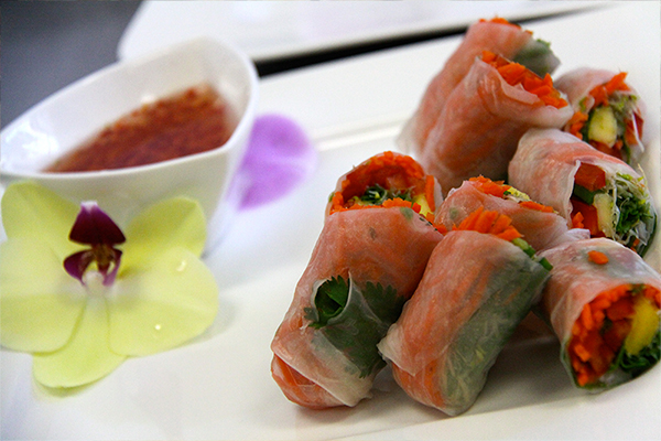Fresh Vegetable Spring Rolls with mango and Nam Pla dipping sauce. Photo by Sierra Fish.
