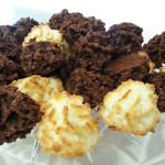 Coconut and chocolate macaroons.