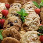 Fresh-baked cookies including white chocolate macadamia nut, chocolate chip and peanut butter chip.