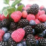 Fresh berries that accompanied a Japanese dessert.