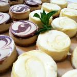 Mini lemon and chocolate swirl cheese cakes. Paired with an Italian menu.