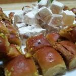 Moroccan pistachio baklava and lemon marmalade, that accompanied a Moroccan menu.