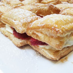 Puff pastry napoleons with sweet lemon cream cheese and fresh strawberries that accompanied a Brazilian menu.