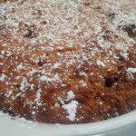 Pumpkin spiced bread pudding with chocolate chips.