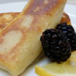 Sweet cheese blitzes that accompanied a Russian menu.