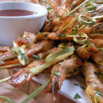Chili-lime shrimp skewers with sweet chili dipping sauce.