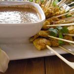 Lemongrass chicken satay with peanut dipping sauce.
