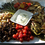 Roasted vegetables with an herb aioli sauce.