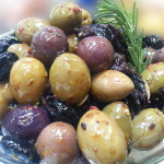 Marinated olives that accompanied a Moroccan menu.