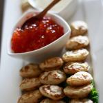 Salmon caviar with blitzes. Accompanied a Russian cuisine menu. Photo by Sierra Fish.