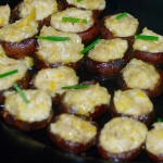 Vegetarian stuffed mushrooms with fromage blanc and roasted leeks and drizzled with truffle oil.