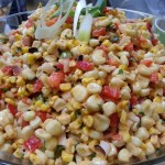 Chipotle white and gold corn salad with peppers, scallions and lime Chipotle vinaigrette.