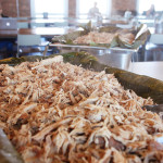 Kalua Braised Pulled Pork with tropical salsa. Accompanied a Hawaiian menu.