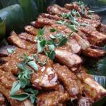 Costilla Adobada- adobo baby back ribs. Accompanied a Guatemalan menu.