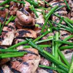 Doenjang pork tenderloin with sesame asian chives. Accompanied a Korean menu. Accompanied a Korean menu.