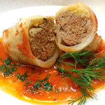 Golubtsi- stuffed cabbage with ground pork, ground beef, rice, fresh herbs and spices in savory tomato sauce. Accompanied a Russian cuisine menu.