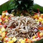 Kalua pork with tropical salsa. Accompanied a Hawaiian menu.