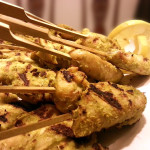 Lemongrass chicken satay with peanut dipping sauce. Accompanied an hors 'd'oeuvres menu for business meeting.