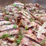 Shashlik-style pork tenderloins, marinated in onion, buttermilk, garlic, vinegar, olive oil and special spices. Accompanied a Russian menu.