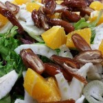 Sweet Moroccan Orange Salad with Sonoma greens, fennel, oranges, dates and feta, in mint white balsamic vinaigrette.