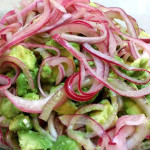 Avocado salad with red wine vinegar and red onions. Accompanied a Cuban menu.