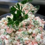 Ensalada Rusa - Russian style salad with potatoes, carrots, peas in creamy dressing. Accompanied a Guatemalan menu.