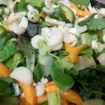 Exotic avocado salad with pumpkin seeds, papayas, avocados, hearts of palm, in saffron citrus vinaigrette. Accompanied a Jamaican menu