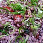 Farro salad with cherry tomatoes, summer squash and scallions in blueberry-mint vinaigrette. Accompanied a summertime barbecue lunch.