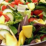 Havana salad mixed greens, tomatoes, sliced onions, manchego cheese, toasted pumpkin seeds in mango vinaigrette. Accompanied a Cuban menu.