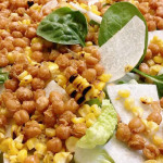 Mixed greens salad with grilled corn, jicama and fried garbanzo beans.