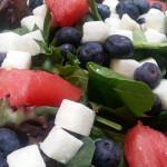 Mixed greens salad with watermelon, jicama, blueberries, feta, toasted pistachios in mint citrus vinaigrette. Accompanied a Japanese menu.