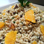 Pearl couscous with preserved lemons with dried apricots, currants, caramelized onions, mint, scallions and pistachios. Accompanied a Moroccan menu.