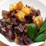 Purple potato and sweet potato salad with pineapple in soy lime whole grain mustard mirin vinaigrette. Accompanied a Hawaiian menu.