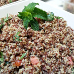Quinoa with watermelon and mint vinaigrette. Accompanied a summer lunch.