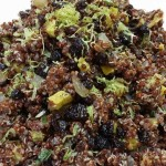 Red quinoa with sweet potatoes, currants, caramelized onions and lime zest. Accompanied a Mexican menu.
