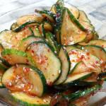 Spicy cucumber salad. Accompanied a Korean menu.