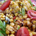 Summer grilled corn with cherry tomatoes in basil-chipotle vinaigrette. Accompanied an Italian menu.