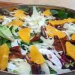 Sweet Moroccan orange salad- Sonoma greens, fennel, oranges, mint and dates in citrus vinaigrette vinaigrette. Accompanied a Moroccan menu.