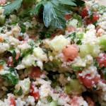 Tabbouleh bulgur wheat, cucumbers, tomatoes, mint, scallions, parsley, lemon juice and olive oil. Accompanied a Mediterranean menu.