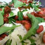 Tomato, fennel, arugula and spinach salad.