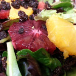 Winter citrus salad- Mixed greens with blood and naval oranges, shaved fennel, currants and parmesan in citrus vinaigrette.