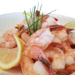 Savignon Blanc amd Meyer lemon poached shrimp.