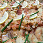 Jamaican seared tilapia in white wine, lemon, jicama, tomato, garlic, parsley sauce. Accompanied a Jamaican menu.