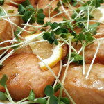 Red miso salmon with daikon sprouts and Meyer lemon. Accompanied a Japanese menu.