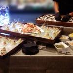 Seafood bar at a holiday party.