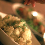 Boiled potatoes with herbs. Russian cuisine dinner party. Photo by Sierra Fish.