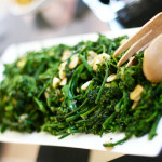 Broccolini with garlic chips. Photo by Sierra Fish.