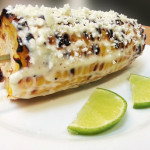 Elote loco grilled corn on the cob with lime aioli and cotija cheese. Accompanied a Guatemalan menu.
