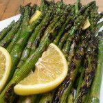 Grilled asparagus in Meyer lemon zest and juice. Accompanied an American menu.